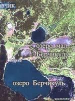 Село Ржавчик и озеро Берчикуль из Космоса