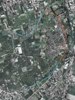 Снимок Помпей из космоса с маршрутом водовод