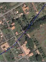 Снимок восточной части Помпей из космоса с маршрутом водовода и колодцами
