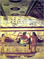 Сцена пира этрусков. Гробница Леопардов в Тарквиниях. V в. до н.э.
