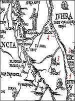 Рис.3. Фрагмент карты «Московии» Сигизмунда фон Герберштейна, созданной в 1549 году
