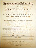 Титульный лист первого издания Британской Энциклопедии (Encyclopedia Britannica), 1771
