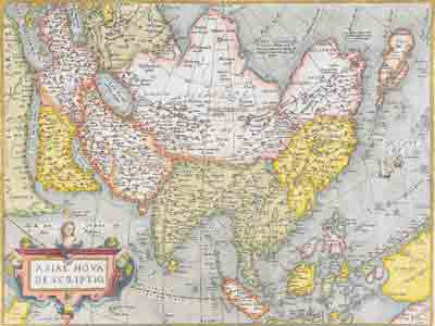Карта Азии Абрахама Ортелия, 1584.