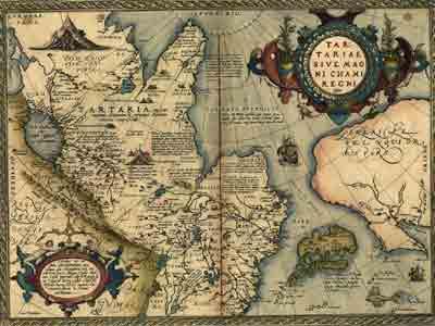 Карта Абрахама Ортелия Татария или Царство Великого Хана (Tartariae-sive-Magni-Chami-Regni), 1598
