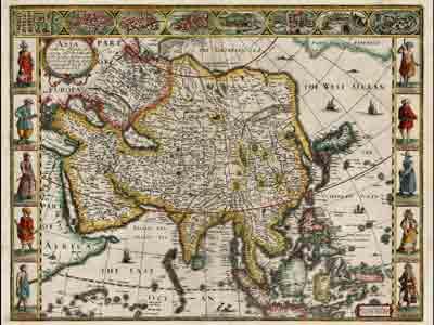 Карта Азии Джона Спида (John Speed), 1626