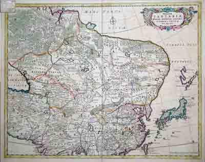 Голландская карта Великой Тартарии, Великой Могольской Империи, Японии и Китая, 1680 Фредерика де Вита (Frederik de Wit)