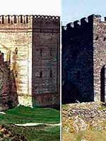 Слева направо: башня Смоленского кремля, башня замка Долвиделан (Уэльс), башня «Китайской» стены