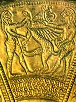 Фрагмент серебряного зеркала с позолотой из кургана Келермес (Адыгея)
