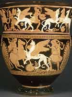 Грифомахия (борьба аримаспов против грифонов) на греческой вазе-кратере. 370 г. до н.э. Лувр. Париж