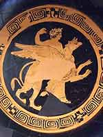 Аполлон верхом на грифоне. Краснофигурный килик, около 380 г. до н.э.