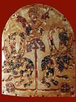 «Вознесение Александра Македонского». Золотая пластинка от диадемы, 9-10 в., Болгария