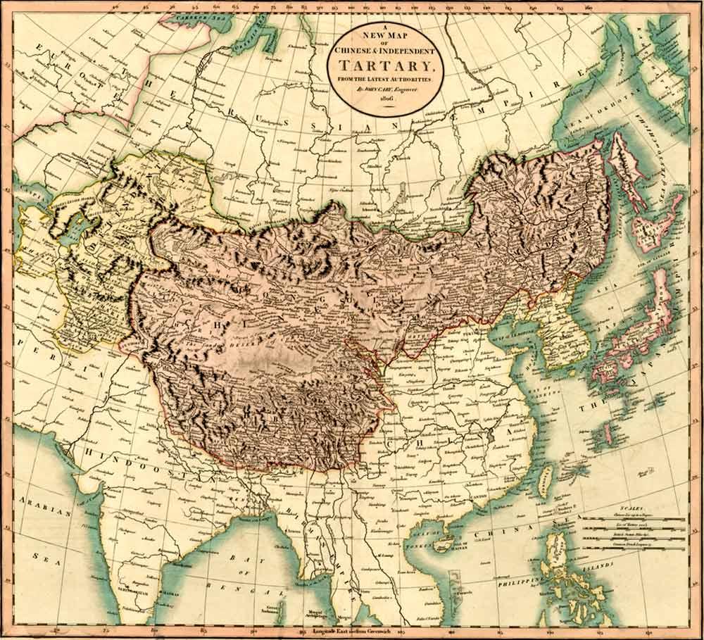 Mongales Occidentaux и Mongales Orientaux.  С разных карт на территории Китайской Тартарии(Сhinese Tartary).