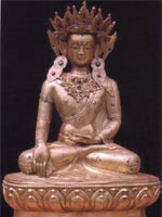 Свастика в руке основателя религии Бон Шенраба. Статуя