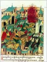 Взятие города Суздаля в 1238 г. Батыем. Летописные повести о монголо-татарском нашествии. Миниатюра. Лицевой свод XVI в. Голицынский том. (Санкт-Петербург, ГПБ)