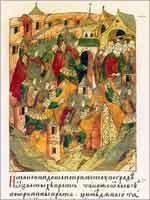 Взятие города Владимира Батыем в 1238 г.  Миниатюра. Лицевой свод XVI в. Голицынский том