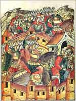 Взятие и разорение Батыем Москвы в 1238 г. Миниатюра летописного свода XVI в.
