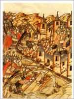 Осада Козельска в 1239 г. Миниатюра XVI в. (Голицынский том Никоновской летописи. Рукописный отдел ГПБ)