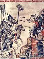 Миниатюрный цикл, посвященный битве при Легнице 9 апреля 1241 года (Hedwigs-codex, 1353)
