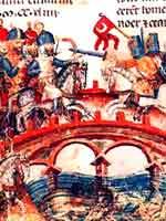 Монголы переходят мост при Моху, «монголы» изображены слева