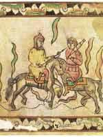Поединок Пересвета с Челубеем. Миниатюра из сказания о Мамаевом побоище. 17 век