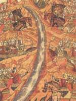 Стояние на реке Угре. Миниатюра летописного свода XVI век