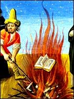Уничтожение рукописей «еретиков» – Катар, философов, учёных.... Иллюстрация из книги Светланы Левашовой «Откровение»