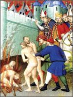 Король Франции Филлипп Август и Папа Инокентий III преспокойно наблюдают сожжение «неверных», то бишь, Катар...  Иллюстрация из книги Светланы Левашовой «Откровение»