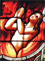 Витражи из церкви города Лиму (Limoix), на которых показана история Катар. Иллюстрация из книги Светланы Левашовой «Откровение»