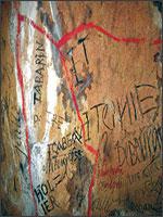 Надписи на стенах глубоко в пещерах Ломбрив. Иллюстрация из книги Светланы Левашовой «Откровение»