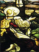 Магдалина во время распятия... Витраж из церквив городке Дорсет, Англия <I>(Dorset Village)</I>. Иллюстрация из книги Светланы Левашовой «Откровение»