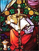Магдалина, оплакивающая смерть Иоанна. Перед ней виден на могиле странный «крест»... с лепестками Трёхлистника на концах. Сам же крест сделан в виде меча. Такой крест когда-то ставили на поле боя на могилах погибших героев, воинов-русов, когда не было возможности сложить им похоронный костёр. Назывался такой Меч – Богобор. Иллюстрация из книги Светланы Левашовой «Откровение»