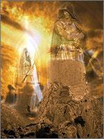 Крепость Катар – Керибус (Queribus), печальный Рыцарь Храма и Сущность Магдалины, несущая меч. Иллюстрация из книги Светланы Левашовой «Откровение»