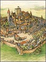 Старинная гравюра замка Уссон. Так выглядел замок до его уничтожения армией церкви в 1258 году. Иллюстрация из книги Светланы Левашовой «Откровение»