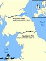 Карта с изображением стены Адриана и стены Антонина