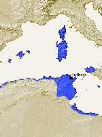 Территория империи Карфагена перед первой Пунической войной в 264 г. до н.э.