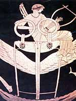 Аполлон, летящий на крылатом триподе. Греческая ваза. 490 г до н.э.