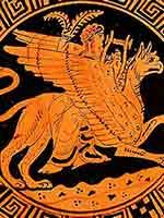 Аполлон, летящий на грифоне. Греческая ваза. 380 г до н.э.
