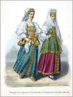 Женский народный костюм. Тверская губ. г. Осташков.