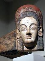 Женщина в кокошнике на антефиксе этрусского храма