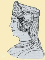 Восточная славянка в головном уборе с наушниками и височными кольцами. 6 век