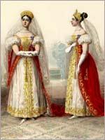 Фрейлины императрицы. Альбом «Придворных дамских нарядов», 1834 г.