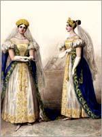 Фрейлины великих княжон. Альбом «Придворных дамских нарядов», 1834 г.