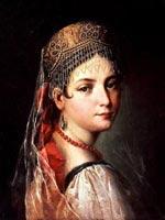 Мауро Гандольфи. Портрет молодой женщины в сарафане 1820 г.