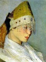 М.Нестеров «Девушка в кокошнике. Портрет М.Нестеровой» 1885 г.