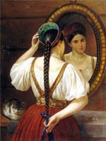Ф.О. Будкин «Девушка перед зеркалом» 1848 г.