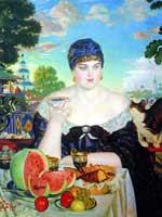 Б.М. Кустодиев «Женщина, пьющая чай» 1918 г.