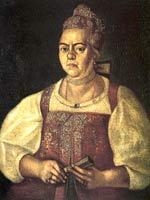 Портрет купчихи в пунцовой душегрее. 1770-е гг. Неизв. худ.