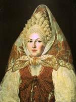 А. Клюквин (1777-1867 гг.) «Женщина в торопецком жемчужном кокошнике и платке»