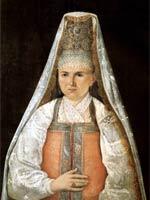 Портрет крестьянки в розовом сарафане. 1840-е. Неизв. худ.