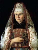 Портрет крестьянки в головном платке с золотой каймой 1850 г.